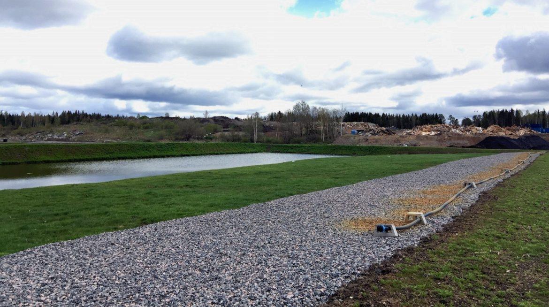 Lakvattenanläggning vid Lundens deponi färdigbyggd